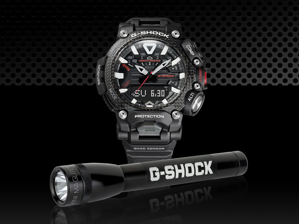 image of GRB200 watch with a branded flashlight