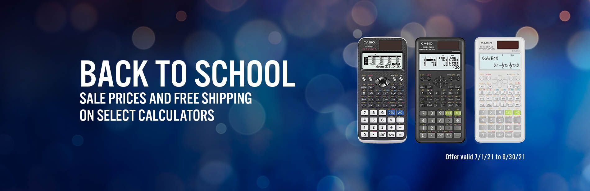 Free shipping on select calculators