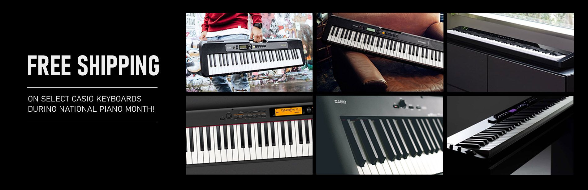 Free shipping on select Casio keyboards during national piano month