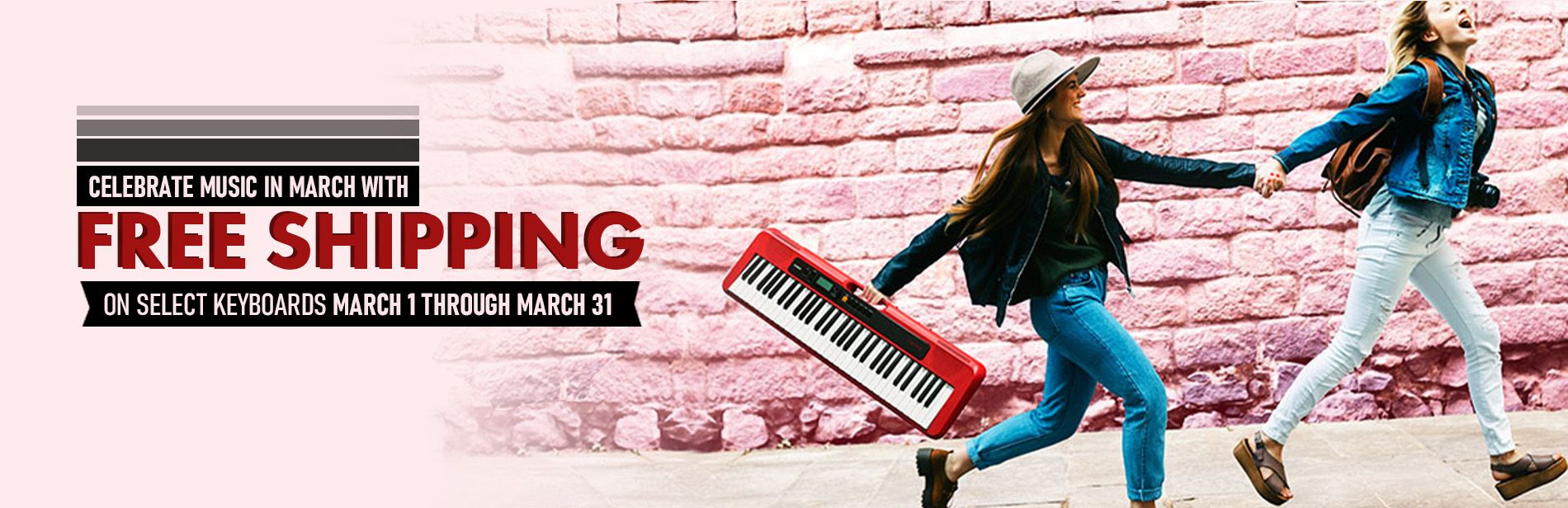 Celebrate music in march with free shipping on select keyboards march 1 through march 31
